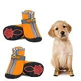 Dociote Hundeschuhe pfotenschutz mit Anti-Rutsch Sohle, reflektierendem Riemen, Klettverschluss, Reißverschluss wasserdicht Schneeschuhe für kleine Hunde 4 Stück Orange 5#