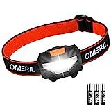 OMERIL Stirnlampe Kopflampe Stirnlampe LED Superhell Wasserdicht Leichtgewichts Mini Stirnlampen fürs Laufen, Joggen, Angeln, Campen, für Kinder und mehr [Energieklasse A++] (1 Stück)