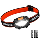 Stirnlampe OMERIL LED Stirnlampe Kopflampe, Superhell Wasserdicht Leichte Mini Stirnlampe LED mit 3 Helligkeiten, Stirnlampe Kinder fürs Laufen, Joggen, Angeln, Campen usw (inkl. 3 AAA Batterie)