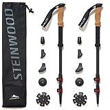 Steinwood Premium Carbon Wanderstöcke - Trekkingstöcke - verstellbar mit Teleskop und Klemmverschluss mit extra Gummipuffer und Tragebeutel (2 Paar)