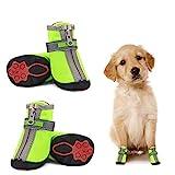 Dociote Hundeschuhe pfotenschutz mit Anti-Rutsch Sohle, reflektierendem Riemen, Klettverschluss, Reißverschluss wasserdicht Schneeschuhe für kleine Hunde 4 Stück Grün 5#