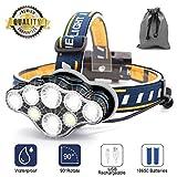 Stirnlampe, 8 LED 18000 Lumen Kopflampe,Superheller USB Wiederaufladbare Wasserdicht Leichtgewichts Stirnleuchte für Camping,Fischen,Laufen,Joggen,Wandern,Lesen,Arbeiten