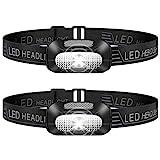 Stirnlampe LED, 2 Stück Leichtgewichts Kopflampe, Superheller USB Wiederaufladbare Wasserdicht Stirnleuchte für Camping, Fischen, Laufen, Joggen, Wandern, Lesen, Arbeiten