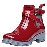 ukStore Damen Gummistiefel Regenstiefel Kurzschaft Stiefel Blockabsatz Chelsea Boots Rain Schuhe, Rot 39