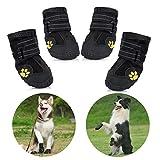 Petacc wasserdichte Hundeschuhe, 4 Pcs Hundeschuhe Pfotenschutz, wasserdicht mit Anti-rutsch Sole passend für mittlere und große Hunde - schwarz (6#)