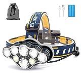 SYOSIN Stirnlampe, 8 LED 18000 Lumen Kopflampe, Superheller USB Wiederaufladbare Wasserdicht Leichtgewichts Stirnleuchte für Camping, Fischen, Laufen, Joggen, Wandern, Lesen, Arbeiten