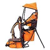 NBZH Kindertrage Rucksack Wandern Bergsteigen rücken Rahmen Pack mit 11L Abnehmbarer Tagesrucksack mit Klappstuhl Sonnenschirm Lager Gewicht £ 60,Orange