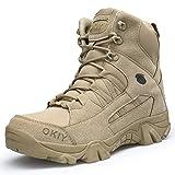 Dannto Herren Military Stiefel Tactical Arbeit Stiefel Army Stiefel Wanderstiefel Trekkingstiefel Atmungsaktive für Outdoor Camping Wandern Bergsteigen Wüsten Offroad Angeln Jagen (Hellbraun,45)