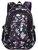 HASAGEI Schulranzen Schulrucksäcke Schultasche Daypacks Backpack für Kinder Mädchen Jungen Jugendliche Schulrucksäcke mit Gurt M/S 45 * 30 * 16/41 * 27 * 13 cm 22/15 Liters (Schwarz, M)