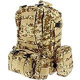 GOLAN 50L Militär Taktischer Rucksack Wanderrucksack für Jagen Camping Reisen Tasche mit MOLLE System (Desert Camo)
