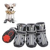Firtink 4Pcs Hundeschuhe pfotenschutz mit Anti-Rutsch Sohle reflektierendem Riemen Klettverschluss Reißverschluss wasserdicht Schneeschuhe für kleine Hunde