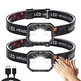 Stirnlampe LED,2 Stück Superheller Bewegungs Sensor1500 Lumens 11Modi Kopflampe,USB Wiederaufladbare Wasserdicht Leichtgewichts LED Stirnleuchte Perfekt zum Laufen,Wandern,Camping,Radfahren,Angeln