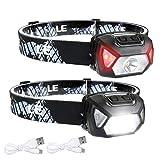 LE Stirnlampe LED Wiederaufladbar, 2000 Lux Superhell Kopflampe mit Rotlicht und 6 Lichtmodi, IPX6 Wasserdicht Leicht Stirnleuchte, Ideal für Wandern, Camping, Joggen [inkl. USB Kabel]