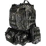 GOLAN 50L Militär Taktischer Rucksack Wanderrucksack für Jagen Camping Reisen Tasche mit MOLLE System (Schwarz Camo)