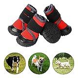 PETLOFT Hundeschuhe, 4pcs Anti Rutsch Pfotenschutz Hund Schuhe mit Einstellbar Verschlussriemen Dog Boots für Kleine Mittlere Große Hunde, Pfotenschutz für Hunde, Einfach Anzuziehen (XXS, Rot)