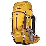 Eshow Trekkingrucksäcke Wanderrucksäcke Reiserucksack für Reisen Wandern und Bergsteigen Wasserdicht Ultraleicht 50L 31*60*23 mit Regenabdeckung, Gelb